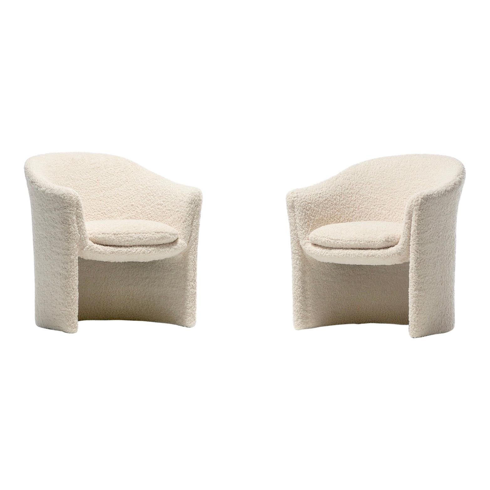 Pair of 1970s Sculptural Dunbar Chairs in Ivory Bouclé