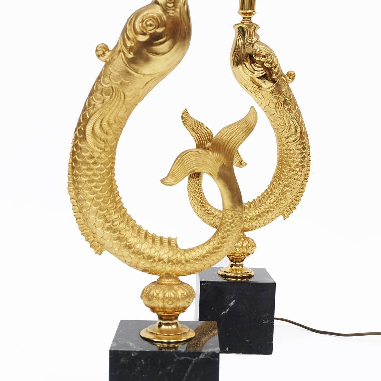French Pair of 1970s Sculptural Gold and Marble Koi Fish Lamps For Sale