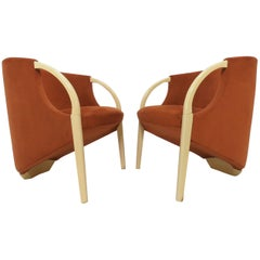 Pair of 1970s Sculptural Three Legged Lounge Chairs