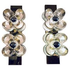 Pair of 1970s Sische Lighting Brass and Murano Glass Flower Wall Sconce Lights