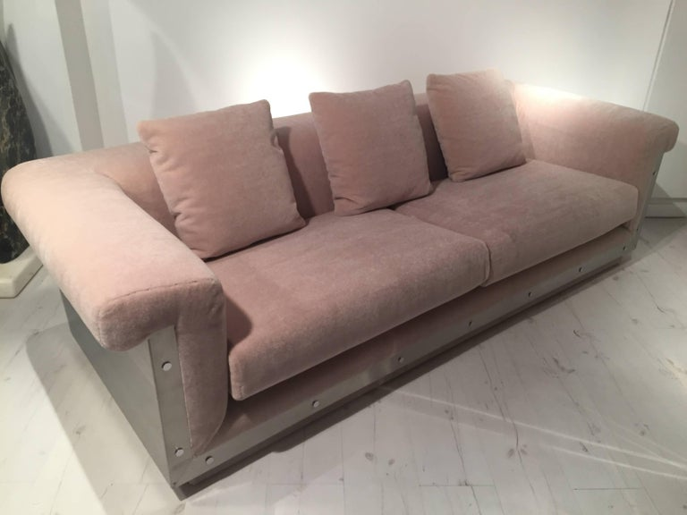 Pair of 1970s sofas with stainless steel details by Maison Jansen Sofas has been upholstered with
