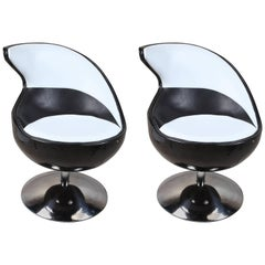 Pair of 1970s Space Age Atomic Swivel Leather Chairs