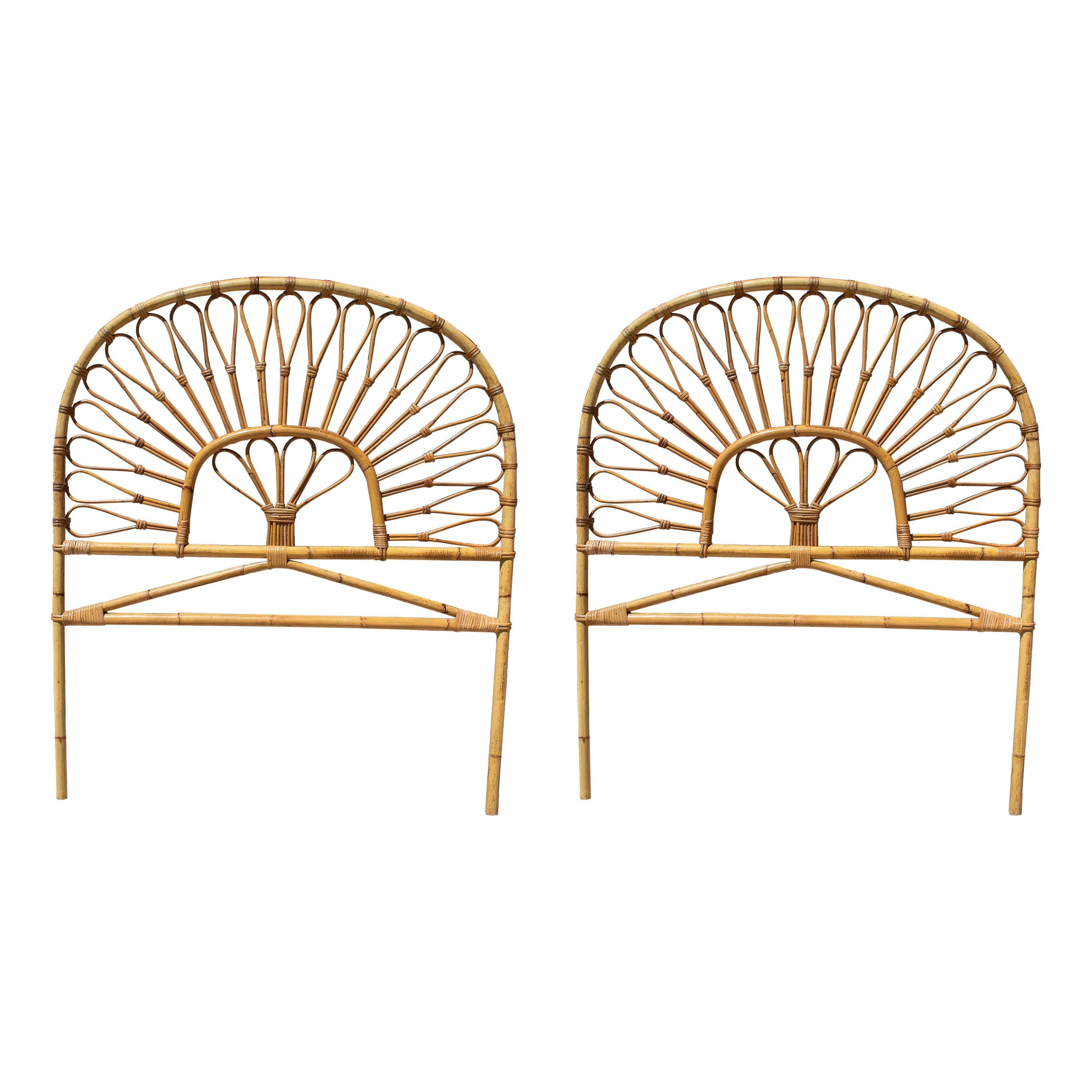 Pair of 1970s Spanish Bamboo Bed Headboards