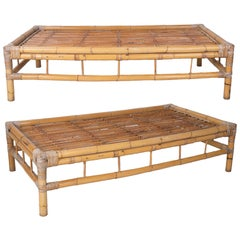 Pair of 1970s Spanish Bamboo Coffee Tables