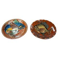 Pair of 1970s Spanish Ceramic Plates w/ Hand Painted Fish