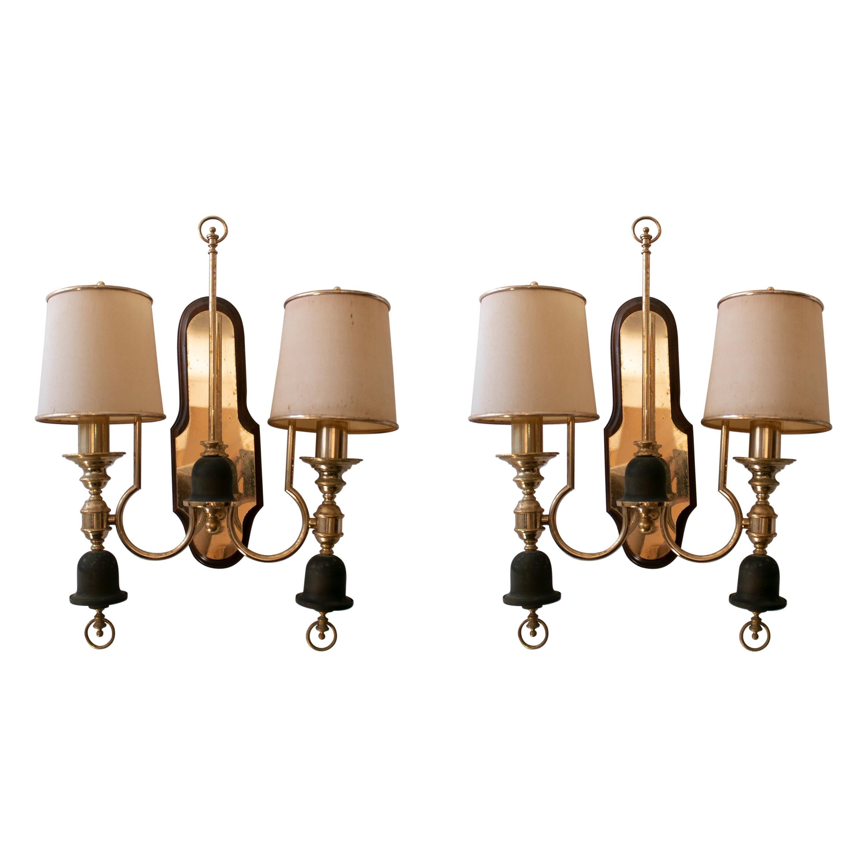 Pair of 1970s Spanish Gilt Bronze 2-Arm Wall Sconces w/ Shades