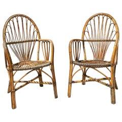 Pair of 1970s Spanish Hand Woven Bamboo Armchairs
