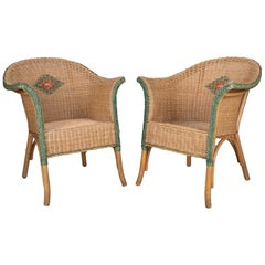 Pair of 1970s Spanish Hand Woven Wicker on Wood Armchairs