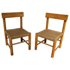 Pair of 1970s Spanish Rope Bottomed Wooden Chairs