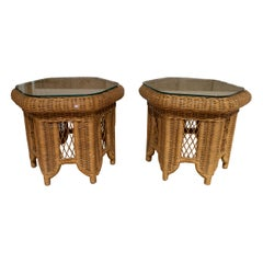 Pair of 1970s Spanish Round Hand Woven Wicker Side Tables w/ Glass Top
