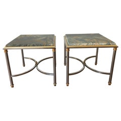 Pair of 1970s Swirled Blue Stone Top Side Tables