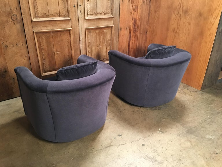 Upholstery Pair of 1970s Swivel Club Chairs For Sale