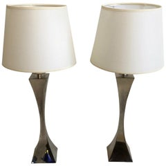 Pair of 1970s silver plated table Lamps by Tonello and Montagna Grillo