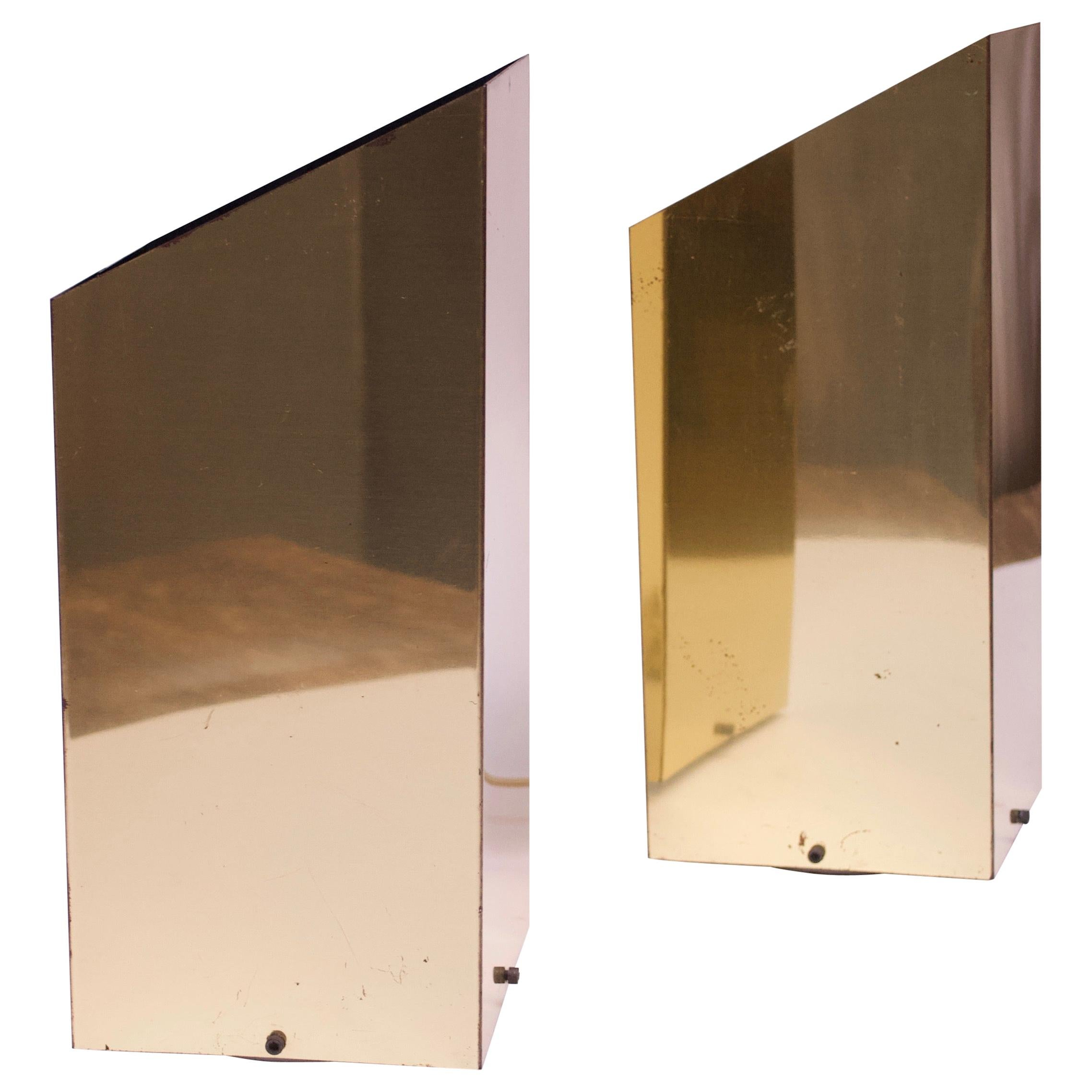 Pair of 1970s Trapezoidal Brass Table Lamps by George Kovacs