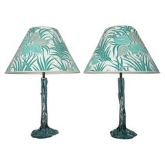 Pair of 1970s Turquoise Resin Tree & Roots Table Lamps Inc Original Shades
