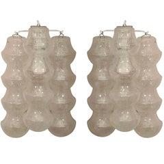 Pair of 1970s Venini Translucent Bubble Glass Sconces