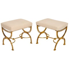 Pair of 1970s Vintage Brass Stools
