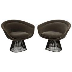 Pair of 1970s Warren Platner for Knoll Bronze Lounge Chairs, Grey Velvet