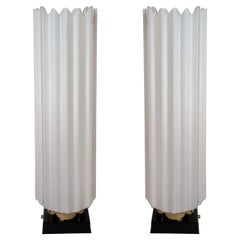 Pair of 1970s White Acrylic Lamps by Rougier