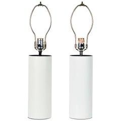 Pair of 1970s White Enameled Cylinder Lamps by Robert Sonneman for Kovacs