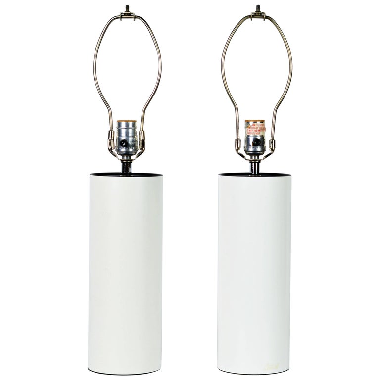 Pair of 1970s White Enameled Cylinder Lamps by Robert Sonneman for Kovacs For Sale