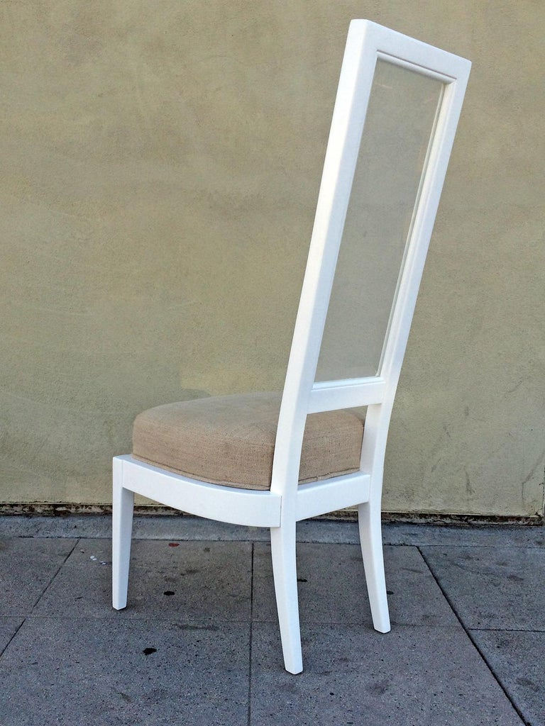 American Pair of 1970s White Lacquer and Lucite Dining Chairs For Sale