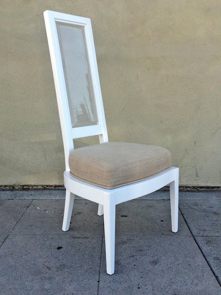 Pair of 1970s White Lacquer and Lucite Dining Chairs In Excellent Condition For Sale In Pasadena, CA