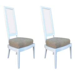 Pair of 1970s White Lacquer and Lucite Dining Chairs