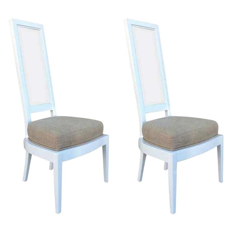 Pair of 1970s White Lacquer and Lucite Dining Chairs For Sale
