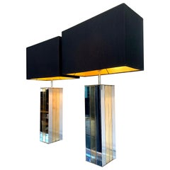 Pair of 1970s Willy Rizzo Brass and Chrome Lamps with New Bespoke Shades