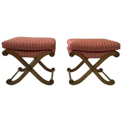 Pair Of 1970s Wood Classical X-Benches