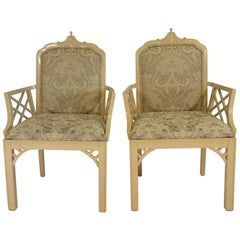 Pair of 1970s Wood Pagoda Armchairs