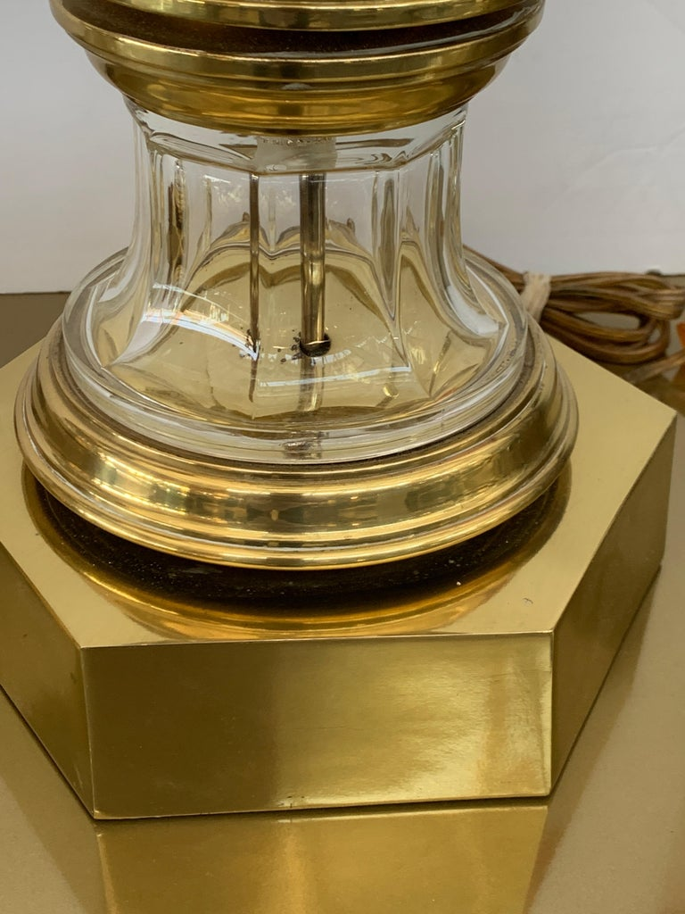Pair of 1972 Chapman Brass and Glass Lamps In Good Condition For Sale In Palm Springs, CA