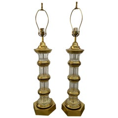 Pair of 1972 Chapman Brass and Glass Lamps