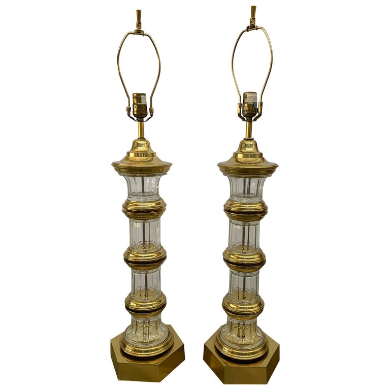 Pair of 1972 Chapman Brass and Glass Lamps For Sale