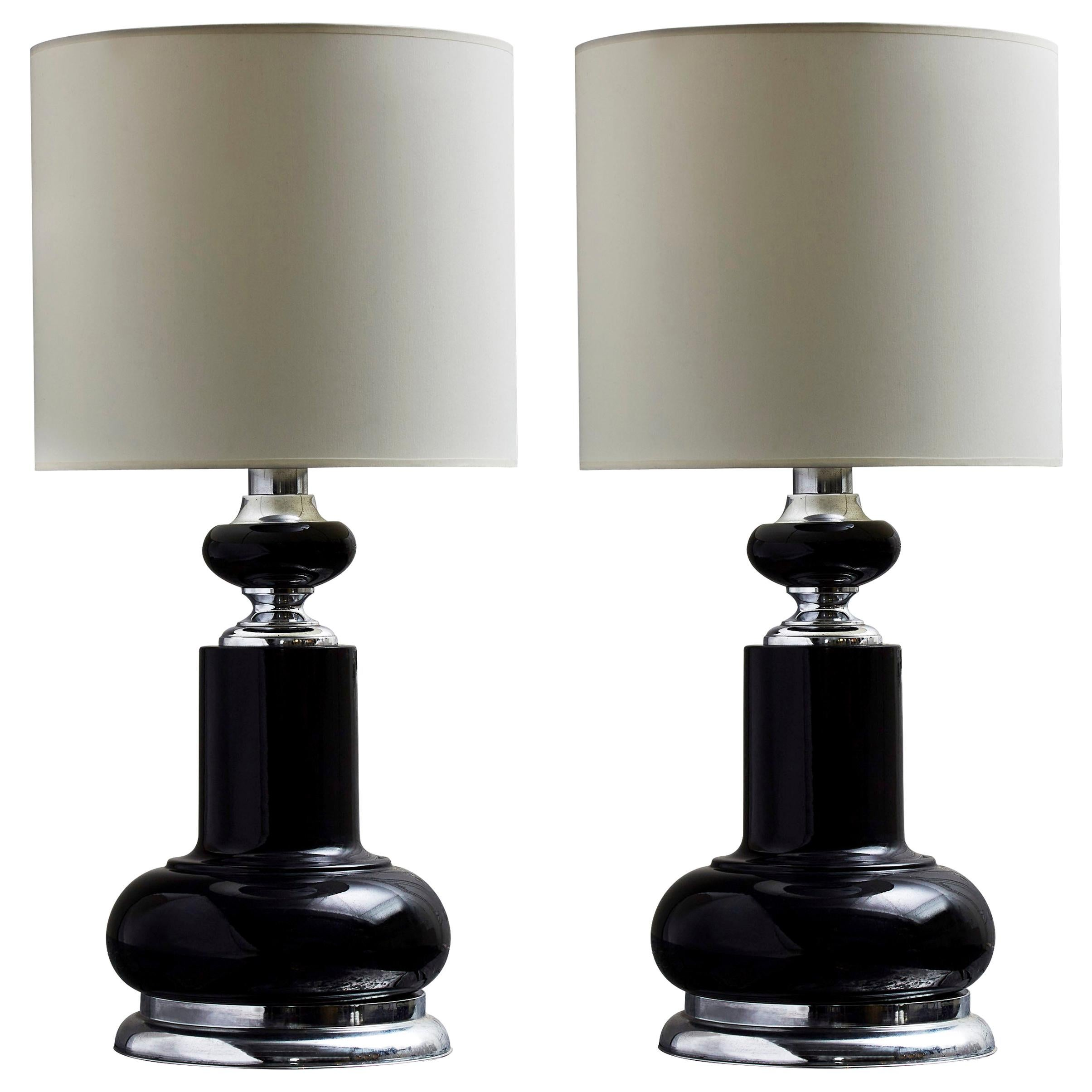 Pair of 1980s Black Table Lamps with Metallic Accents