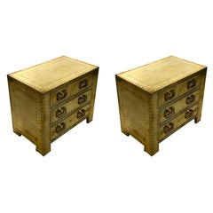 Pair of 1980s Brass Covered Bed Side Tables