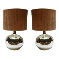 Pair of 1980s Chrome Table Lamps with Bamboo Shades