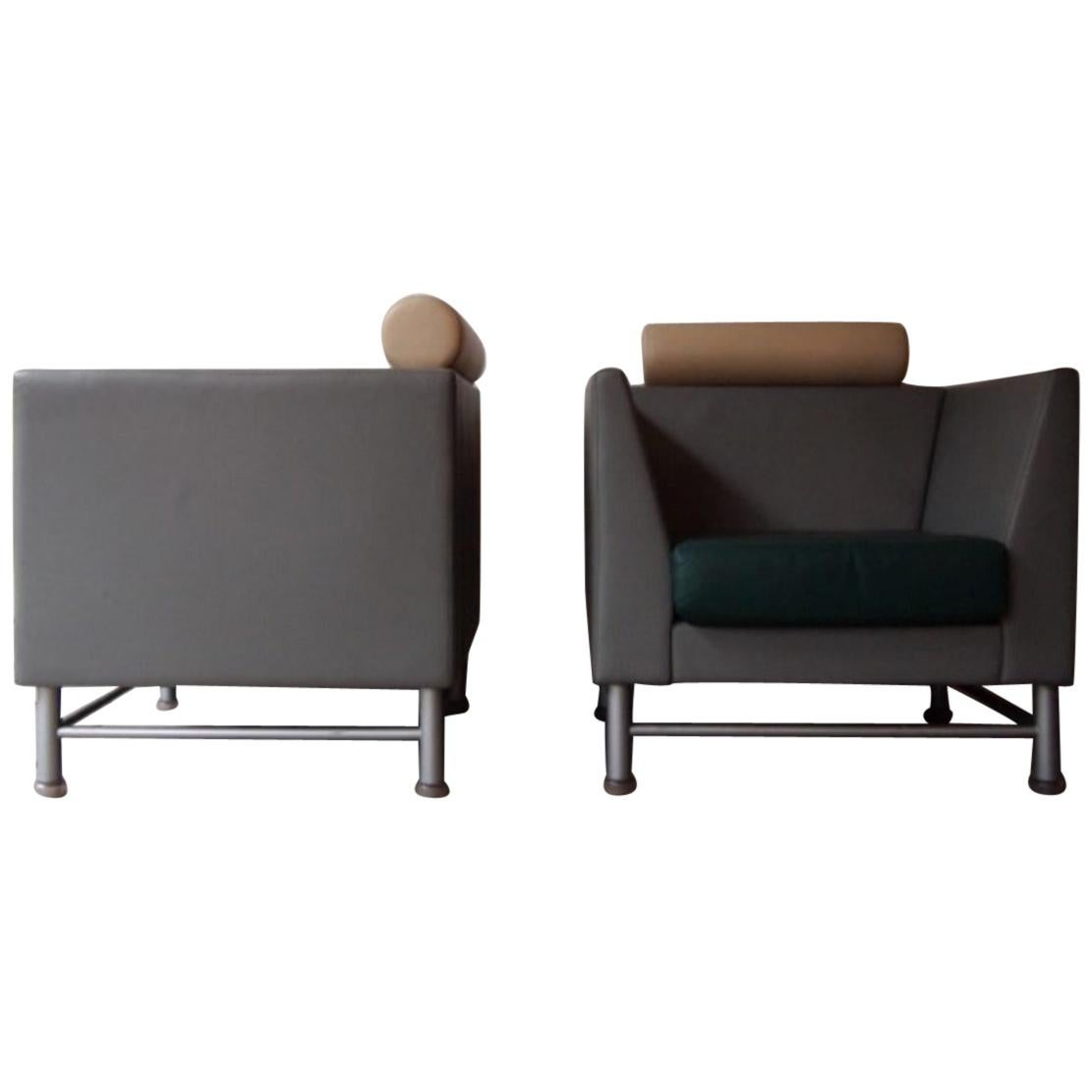 """Pair of 1980s """"East Side"""" Club Lounge Chair by Ettore Sottsass and Knoll"""