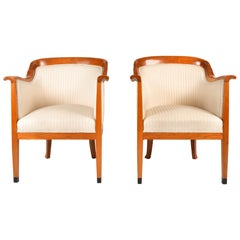Pair of 1980s English Cherrywood Occasional Chairs in the Style of Biedermeier