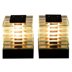 Pair of 1980s Glass Layered Cube Light