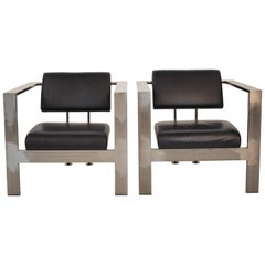 Pair of 1980s Industrial Metal and Black Leather Lounge Chairs