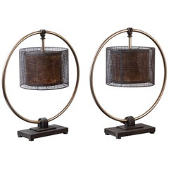 Pair of 1980s Industrial Style Metal Lamps Attributed to Aldo Tura