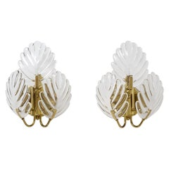 Pair of 1980s Italian Glass Palm Leaf Wall Lights