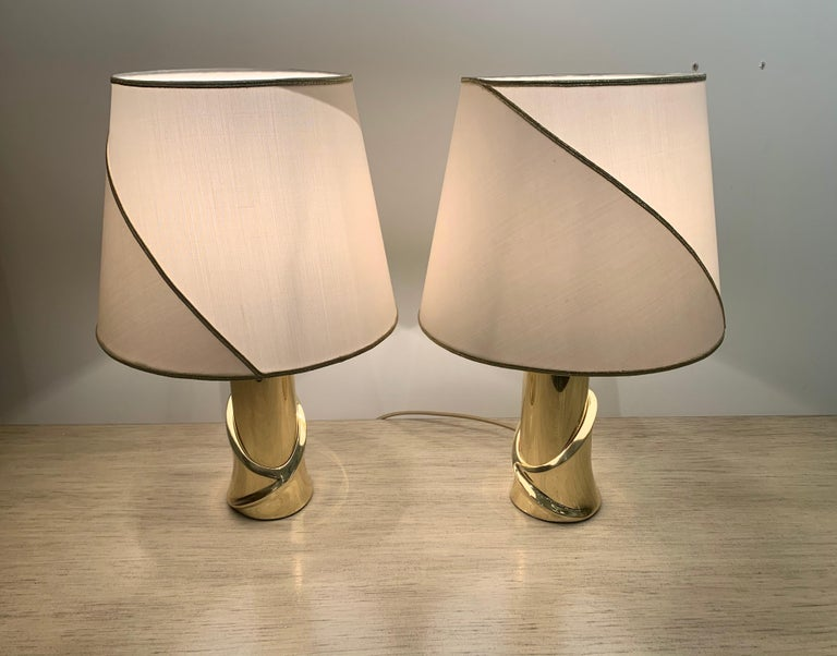 Pair of 1980s Italian Luciano Frigerio Bronze Lamps For Sale 4
