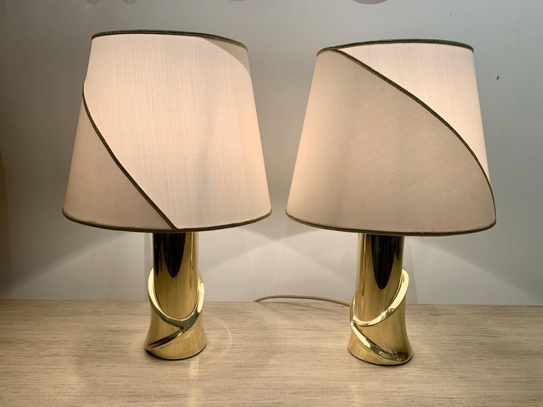 Pair of 1980s Italian Luciano Frigerio Bronze Lamps For Sale 7