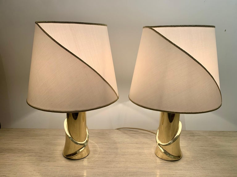 Pair of 1980s Italian Luciano Frigerio Bronze Lamps For Sale 11
