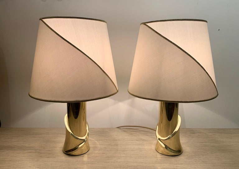 Pair of 1980s Italian Luciano Frigerio Bronze Lamps For Sale 12