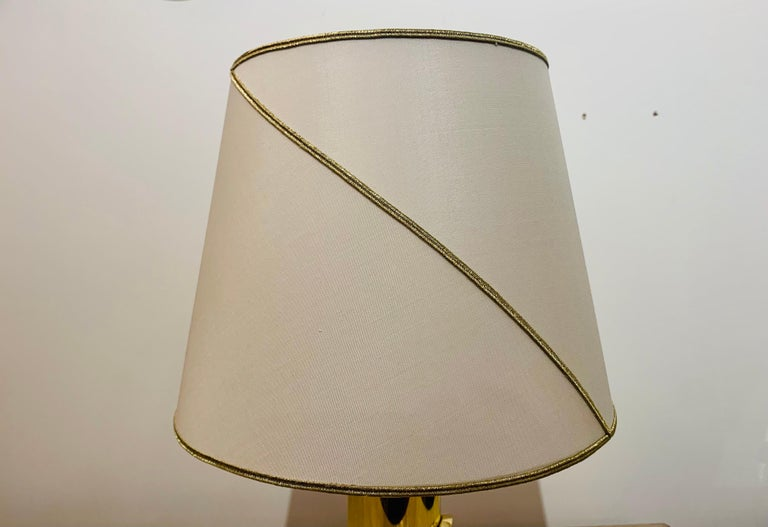 Late 20th Century Pair of 1980s Italian Luciano Frigerio Bronze Lamps For Sale