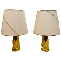 Pair of 1980s Italian Luciano Frigerio Bronze Lamps